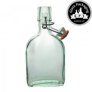 Glass swing top flask from Italy - recycled glass flask