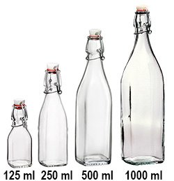 Square 1 liter Swing Top Bottle
