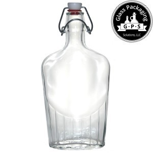 Bormioli Rocco 17 ounce glass flask bottle
